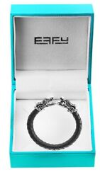 New Effy Mens' Silver, Black Sapphire And Leather Dragon Bracelet/ 825