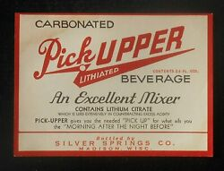 1940s Label Pick-upper Lithiated Beverage Mixer Silver Springs Co. Madison Wi