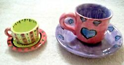 2 Mini Tea Cup Saucer Sets Hand Made Ceramic Colorful 1979 And 1998 Vintage Nos 3