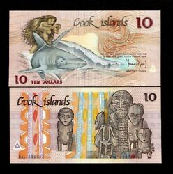 Cook Islands 10 Dollars P-4 1987 Low Shark Pantheon Of God Unc Currency Note