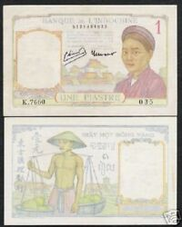 French Indo China 1 Piastre P-54 D 1949 Buffalo Unc Currency Animal Vietnam Note