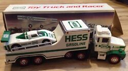 1988 Hess Toy Truck And Race Car Racer Vintage Rare Gas Station Green White