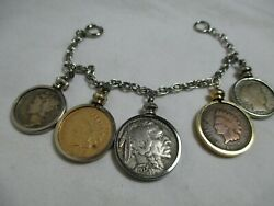 Vintage Us Coin Bracelet Gold Indian Penny 1906 Buffalo Nickel Liberty Dime