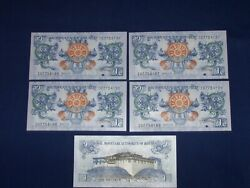 Lot Of 5 Bank Notes From Bhutan 1 Ngultrum Uncirculated