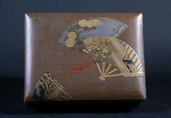 19th Century Meiji Japanese Lacquer Covered Box With Fan Design And Silver Edges