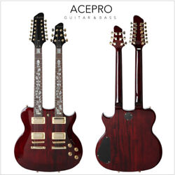 Wine Red Acepro Double Neck Electric Guitar Carved Top Abalone Custom Stem Inlay