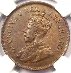1928 South Africa George V Half Penny 1/2p - Ngc Ms62 - Rare Unc Bu Coin