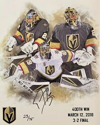 Signed Vegas Golden Knights Marc Andre Fleury 400th Win Poster 23/75 Autograph