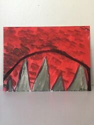 Painting By Abbra Lee Artist Red Foggy Mountain Original 12 X 9 Canvas Panel