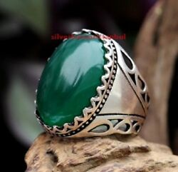 Turkish Jewelry 925 Sterling Silver Green Yemen Agate Aqeeq Men Ring All Sİze Us