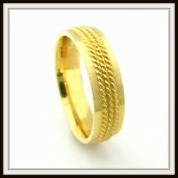Two Tone 14 Kt Solid Gold Hand Made Wedding Band For Men And Ladies Hf / 0009 /