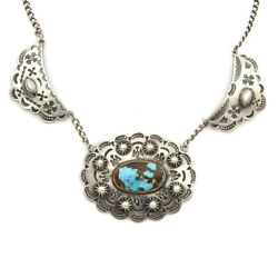 Navajo Fred Harvey Turquoise And Stamped Silver Choker, C. 1930s, 15 Long
