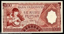 Indonesia 1000 1000 Rupiah P-61 1958 Silver Plate Aunc Money Bill Bank Note