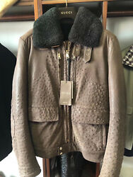 NEW £20000 GUCCI BROWN OSTRICH SKIN JACKET COAT SHEARLING LINING NOT LEATHER
