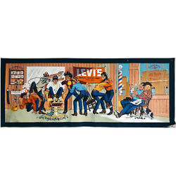 Leviand039s Barber Shop Advertising Sign Hand Painted Replica Denim Poster Pre-order