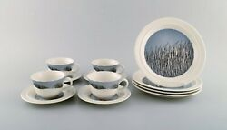 Arabia Finland. Four Rare Tuuli Teacups With Saucers And Accompanying Plates