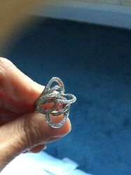 Double Heart Diamond Cocktail Ring 18k White Gold 0.95 Cts Diamonds Full Of Fire