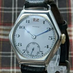 Mappin And Webb Antique Mens Wrist Watch Silver Genuine Mechanical Movement F/s