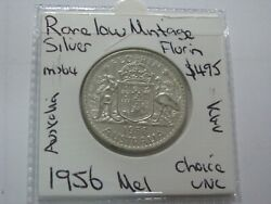 Australia 1956 Mel Silver Florin Coin Rare Low Mintage Choice Uncirculated