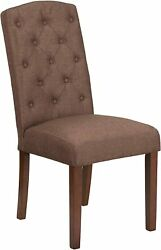 Hercules Grove Park Series Brown Fabric Tufted Parsons Chair New
