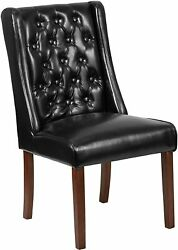 Hercules Preston Series Black Leather Tufted Parsons Chair [qy-a91-bk-gg] New
