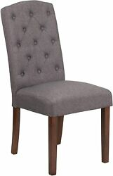 Hercules Grove Park Series Gray Fabric Tufted Parsons Chair New