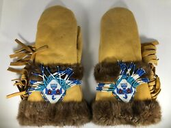 Vintage Native American Leather Fur Tribe Beaded Eagle Mittens Gloves