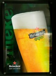 Vintage Lighted Heineken Glass Of Beer Lucite And Chrome Sign 24 X 16 Very Good