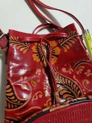 Oriental Style Small Bag With Flat Bottom Plasticky Feel Red Orange Black... $8.50