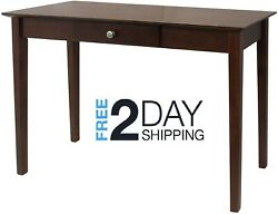 Entryway Console Table With Storage Drawer Wood Antique Walnut Finish Shaker Leg