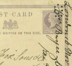 Gb Sloper's Orb Machine Trial Punch Cancellation Qv Stationery Card 1870 21e