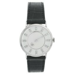 Longines 14k White Gold 1950's Mystery Dial Watch
