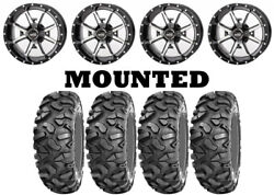 Kit 4 Sti Roctane Xd Tires 28x10-14 On Frontline 556 Machined Wheels Can