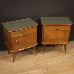 Pair of night stands design bedside tables furniture in walnut wood bedroom