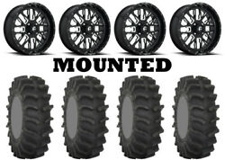 Kit 4 System 3 Xm310 Tires 33x9.5-18 On Fuel Stroke Gloss Black Wheels Can