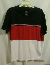 St. John's Bay Mens Polo Tri-Color 100% Cotton Red White & Blue Large $8.00