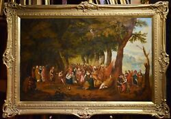 Large Crowded Oil Nativity Of John The Baptist Feast Ca 1700 Old Flemish Master