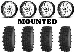 Kit 4 Frontline Acp Tires 35x9.5-20 On Msa M36 Switch Machined Wheels Fxt