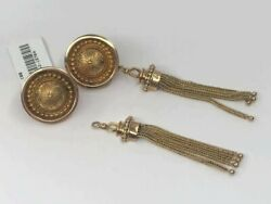 Convertible 14k Gold Vintage Post With Safe Clip Earrings With Removable Tassel