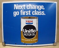 Exxon Uniflo Motor Oil Double Sided Advertising Sign Gas Station Pump Rack