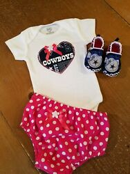 Dallas Cowboys Baby Girl 3 Piece Tailgating Outfit Baby Girl Pink 6-9 Months