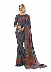 Bollywood Designer Party Wear Indian Crepe Saree Sari 6