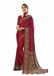 Red Crepe Designer Bollywood Saree Party Wear Sari 3