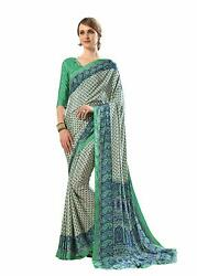 Bollywood Designer Party Wear Indian Crepe Saree Sari 14
