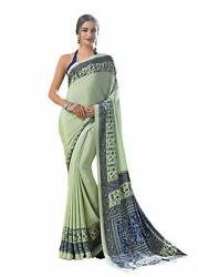 Bollywood Designer Party Wear Indian Crepe Saree Sari 16