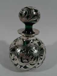 Antique Perfume - Art Nouveau Bottle - American Green Glass And Silver Overlay