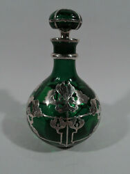 Antique Perfume - Big Art Nouveau Bottle - American Green Glass And Silver Overlay