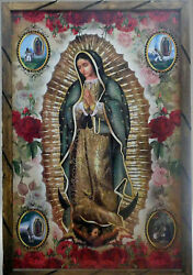 Virgen De Guadalupe 11 Our Lady Cuadro 24x36 Madera Rustic Made Mexico
