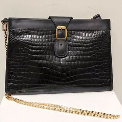 Fendi Crocodile Alligator Black Gold Crossbody Clutch Bag Italy