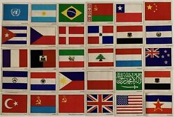 Flags Of The United Nations Vintage Sticker Card Set 30 Sunbeam Bread 1977